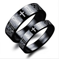 LSL JEWELRY Black Cross Design Casal Rings Classical Holy Bible + Cross Lovers 'Jóias Moda Mulheres Men Ring Preço barato GJ483