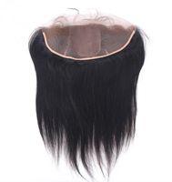 Wholesale Silk Base Top Lace Closure - Brazilian Silk Base Lace Frontal 13x4 Virgin Human Hair Silk Straight Silk Top Lace Frontal Closure Pieces With Baby Hair Bleached Knots