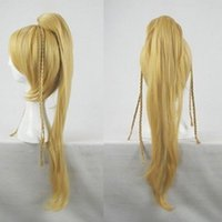 Wholesale Hair Fantasy - 100% Free shipping New High Quality Fashion Picture wigs>>Hot ! Final Fantasy Rikku cosplay wig BLONDE Long coser tail party costume hair