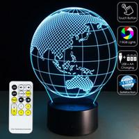 lámpara de tierra al por mayor-The Earth 3D Light Lámpara 3D Lámpara óptica 3D Luz nocturna 7 luces RGB Regulable DC 5V Batería IR Control remoto Caja minorista