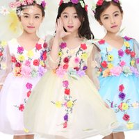 Wholesale Embroidery For Pictures - 2016 spring flower girl dresses tutu dress wedding birthday party communion dress skirt kids prom dresses for pricecess lace dress