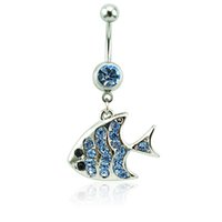 Wholesale Body Jewelry Fish - New Belly Button Rings Surgical Steel Barbell Dangle Blue Rhinestone Fish Navel For Men Body Piercing Jewelry