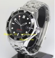 Wholesale Top Automatic Buckle - Hot Luxury Men's Watches Wristwatch Top quality Mens Professional 300M James Bond 007 Black Dial Steel Automatic Watch Men's Watches