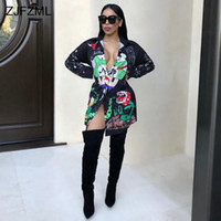 Wholesale Cartoon Print Bodycon - Black Print Sexy Shirt Dress Casual Women Button Loose Party Dress 2017 Long Sleeve Turn-down Collar Cartoon Mini Dress