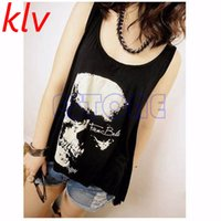 Atacado- KLV New Women's T Shirt Vintage Tassel Open Tank Pop Back Skull Punk Singlet Long Tee T-Shirts / Sexy Lady Top