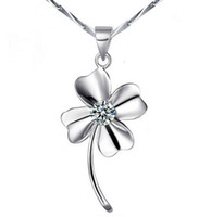 Wholesale 18k Gp Sterling Silver - 18k White Gold Necklace Pendant GP Purple White Swarovski Crystal Love Necklaces Charms Four Leaf Clover 925 Sterling Silver Jewelry