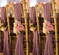 bankett stuhl zurück deckungen großhandel-Romantische Oceanfront Garden Hochzeit Stuhl Cover zurück Schärpen Flower Bankett Dekor Bow Weihnachten Geburtstag formale Hochzeit Stuhl Schärpen