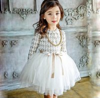 Wholesale Long Thick Necklaces - Retail Girls Winter Dress Long Sleeve Fleece Thick Fluffy Dress Girl Princess Dress With Necklace Children Clothing 2887