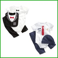 Wholesale Baby Boy Black Formal Party - party formal baby boys suits newborn toddler gentleman style short bodysuits rompers long pants black blue hat 3pcs outfits high quality
