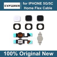casquettes apple achat en gros de-Menu principal Bouton Capuchon Flex Support de support de câble Ensemble pour iPhone 5 5G 5C Noir Blanc Pièce de rechange