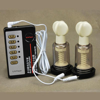 terapia de massagem elétrica venda por atacado-Choque elétrico Sucção Cupping Mama Massageador Mamilo Enhancer Mamilo Amplificador de Vácuo Copo Mamilos Pulsação Terapia Física Copos para As Mulheres A14