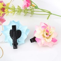 Wholesale Peony Hair Accessories Wholesale - Wholesale- New Arrival Peony Flower Hairpins Girls Hair Accessories Flora Barrette Headwear Cute Hair Clip Best Gift Hairpin