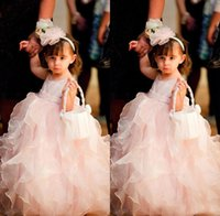 Wholesale Fancy Flower Design - Fancy Design Hottest Selling New Fashion Jewel Ankle Length Ruffles Baby Pink Organza Cute Ball Gown Little Kids Lovely Flower Girl Dresses