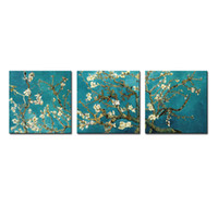 Wholesale Paint Art Work - 3 Pieces Canvas Painting Apricot Flower Wall Art Van Gogh Works Painting with Wooden Framed For Home Decoration as Gifts