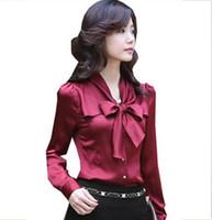 Wholesale Wine Red Silk Shirt - 2016 New Women Fashion Big Bowknot Imitate Silk shirts White Beige Wine-Red Size S M L XL XXL 3XL 4XL