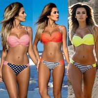 Polyester padded tankini swimwear - 2016 Newest Sexy Women Bandage Bikini Set Push up Padded Bra Swimsuit Bathing Suit Swimwear Women s Swimwear Bikinis Tankini