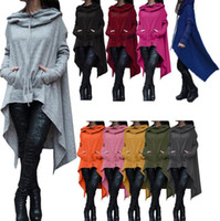 Wholesale Women S Hoodies Size M - Jumper Irregular Sweatshirts Hoodies Long Sleeve Jackets Women Casual Coat Plus Size Blouses Pullover Outwear Women Clothing 30pcs OOA2946