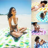 Wholesale Outdoor Picnic Blanket - Indian Round Mandala Tapestry Outdoor Picnic Blanket Beach Towel Throw Yo-ga Mat Pineapple series of Beach Towel