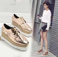 2017 European Gold / Silver Brogue Shoes Donna Brand Stars Bullock Shiny Leather Lady Scarpe Derby Creepers Platform Scarpe Stringate