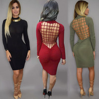Wholesale Black Cage Dress - Vestidos New Sexy Bandage Night Club Bodycon Dresses Stretch Cotton Laced Back Cage Hollow Out Women Fashion Party Dress