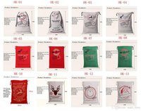 Wholesale Reindeer For Sale - Hot sale New 12 styles Large cotton Canvas Christmas Gifts bags for kid Christmas Santa Claus Reindeers Drawstring Bag Sack Bags 11230