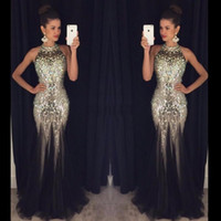 Wholesale Halter Mermaid Dress Bling - 2016 Luxury Bling Black Prom Dresses Mermaid Crystals Beaded Halter Neck Open Back Tulle Sweep Train Party Evening Gowns