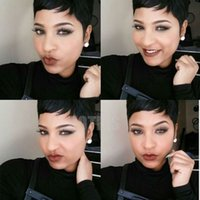 Wholesale short human hair wigs african american online - HOTKIS Human Hair Pixie Short Cut Wigs Black Very Short Hair Wigs None Lace Human Hair Wig African American Wig For Women can be washed
