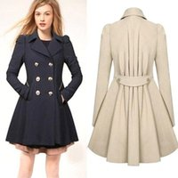 Wholesale Cotton Lined Coats - 2016 winter autumn coat women casaco feminino abrigos mujer A-Line new classic Double Breasted Black coat Plus size overcoat fs0640