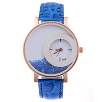 Wholesale ladies summer fashion watches for sale - Group buy Summer Moving Quicksand Women Watches Crystal Rhinestone Ladies Luxury Faux Leather Quartz Ganeva Dress Watch Reloj Mujer Clock
