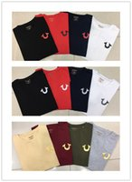 Wholesale Woman Shorts Jeans - High quality summer brand jeans robins mens tshirts black white red blue color true cotton o-neck short rock men's t-shirts plus size M-XXXL
