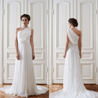 Wholesale One Shoulder Greek Wedding Dresses - 2016 Simple Greek Beach Wedding Dresses One Shoulder Sleeveless Ruched Draped Chiffon Cheap Bridal Gowns with Sweep Train Custom Made