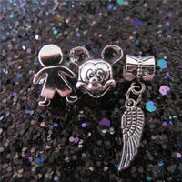 Wholesale Dangle Charms For Bracelet Necklace - Candy Man Mickey Mouse Charm Bead Feather Dangle 925 Silver Fashion Women Jewelry European Style For Pandora Bracelet Necklace PM001