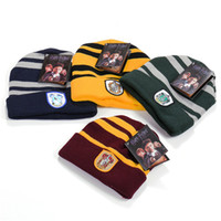 Harry Potter Beanie Gryffindor Slytherin Cappellino Caps Hufflepuff Cappottino Cosplay Ravenclaw Cappellini Striped School Cappelli invernali WD442AA
