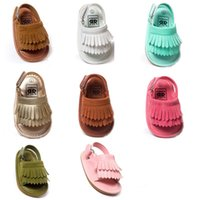 Wholesale Girls Sandals Size 12 - 2016 New Summer baby moccasins tassel sandals moccs baby shoes Leather prewalker Infant Babies Shoes for Girls and Boys 8 colors can mixd