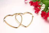 Wholesale Big Hoop Earrings Free Shipping - Free shipping Gold color Earrings for Women Wedding Female Big Heart Hoop Earrings Punk Stainless Steel EH-154