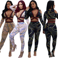 Wholesale women s silk pants suit - 2017 Autumn Fashion Sexy Printed Women Two Piece Set Yellow Deep V Neck Long Sleeved patchwork Tops + Pants Suit 2PCS Sets Bodycon Jumpsuits