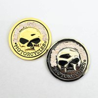 Wholesale Skulls Stickers - Hot Sale Skull Bone Sticker Car Motorcycle Auto Chrome Silver Gold 3D Metal Emblem Badge Decal Harley
