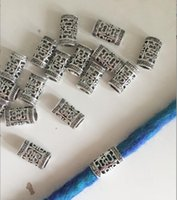Wholesale Hair Extension Tubes - TIBETAN Style Silver DREADLOCK BEADS 7*5mm Hole DREAD Hair Bead Hair Accessories Decoration Tibet Silver Tube Dread Cuff
