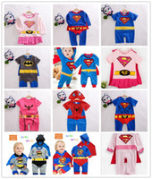 Wholesale Romper Spiderman - 4 sets lot New Infant Toddler Boys Girls Superman Spiderman Batman Romper with Cloak Boy's Girl's Baby One-Piece cartoon Rompers