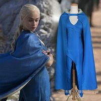 Wholesale Gothic Dragons - HBO Game Of Thrones Dragon Mother Daenerys Targaryen Halloween Cosplays Costumes Sexy Dress + Hooded Cape For Women Blue