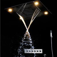 "Wholesale Stainless Steel Waterfall Shower - Luxury 31"" Large Rain Shower Set Waterfall LED Recessed Ceiling Remote Control 600*800mm Stainless steel mirror LED shower shower"