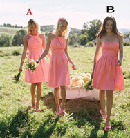 Wholesale Different Halter Bridesmaid Dress - 2016 Cheap A Line Chiffon Coral Bridesmaid Dresses Hlater Different Styles Sleeveless Ruched Short Pink Bridesmaid Dress