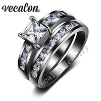 Vecalon 2016 Accessoires Nouveau Femmes Band Engagement Wedding Ring Set 2ct Topaz Simulé diamant Cz 10KT Black Gold Party Rempli