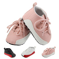 Wholesale First Sport Sneakers - New First walkers Sneakers soft Soled Crib Shoes Newborn Girls Boys PU Leather brand Sports shoes pattern