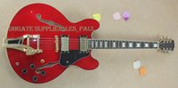 Custom Limited Run Curly ES35 Semi-creux Transparent Rouge Flame érable Top Jazz Guitare électrique Ebène Fingerboard Bigspy Tremolo Bridge