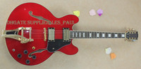 Custom Limited Run Curly ES35 semi-oco transparente vermelho Flame Maple Top Jazz guitarra elétrica Ebony Fingerboard Bigspy Tremolo Bridge