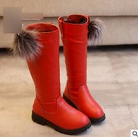 Wholesale Thick Leather Fabric Wholesale - Christmas Children boots autumn winter girls knee length high princess boots kids pompon thick bottom snow boots kids shoes T0483