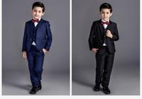 trajes de bebé azul bodas al por mayor-2016 nueva llegada de la manera de los bebés varones niños chaquetas traje de niño para bodas de baile formal negro / azul marino vestido de boda traje de niño 5 unids