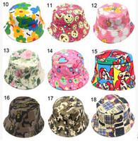 Wholesale Bucket Hat Kids - 30 Color Bucket Sun Hat for Girls  Kids Baby Summer Hat Leisure Children Fisherman Cap Cartoon Kid's Hats