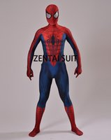 TV & Movie Costumes spider man spandex costume - 2016 Spiderman Costume D Print Cosplay Zentai Suit Spandex Male Comic Spider man Superhero Costume Custom Made Hot Sale